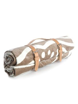 Zebra-print towel and leather holster