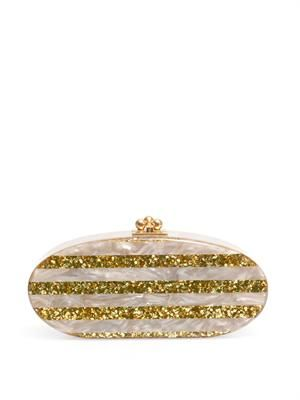 Edie striped oval clutch