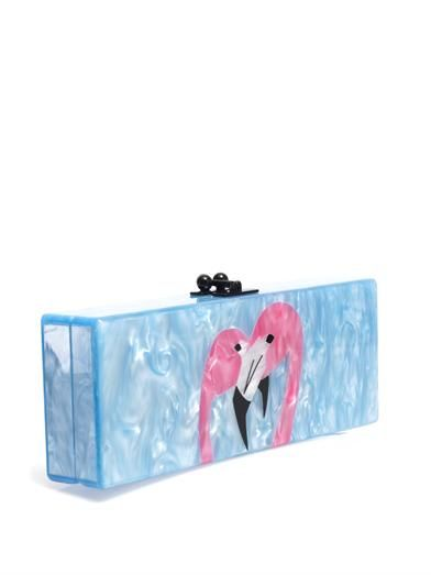 Edie Parker Flavia flamingo box clutch