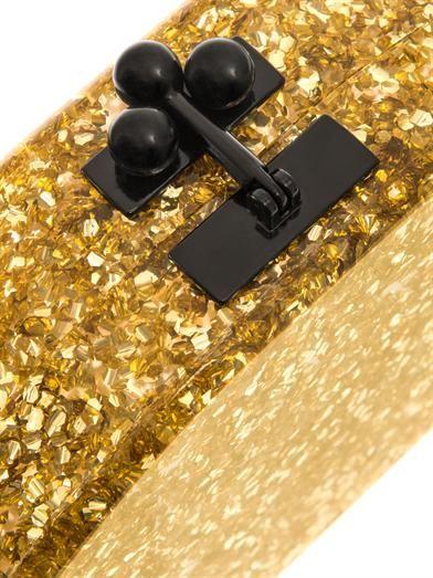 Edie Parker Dottie glitter semicircle clutch