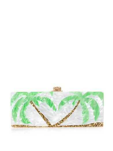 Edie Parker Flavia palm trees box clutch