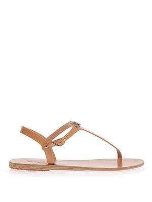 Painted eye leather thong sandals