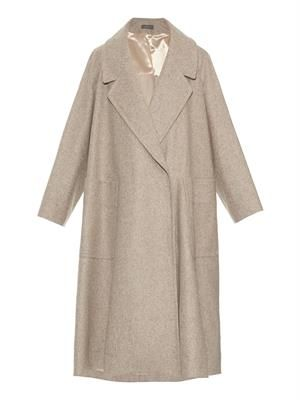 Wide-lapel maxi coat