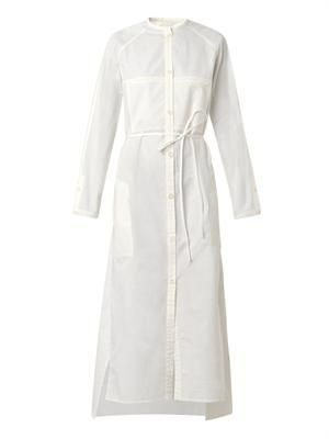 Collarless cotton shirt dress