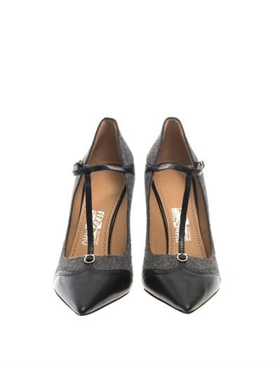 Salvatore Ferragamo Nalia felt and leather pumps