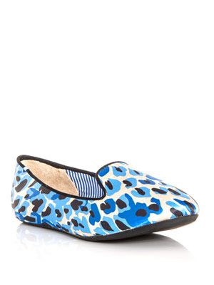 Sheila butterfly-print satin slippers