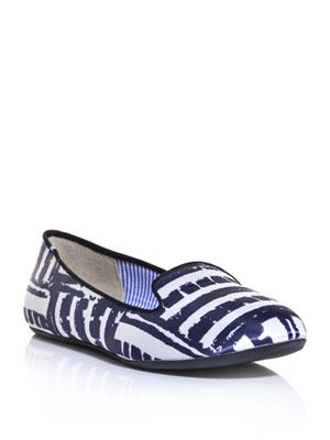 Sheila brick stripe-print slippers