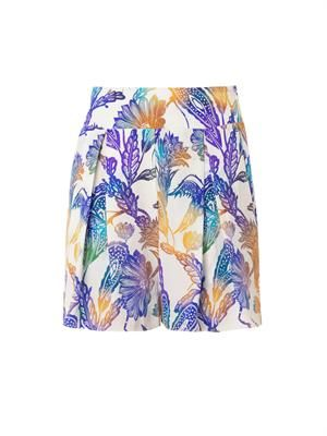 Woodcut-print silk shorts