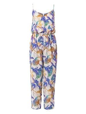 Woodcut-print silk jumpsuit