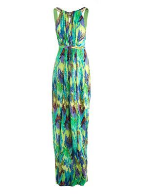 Digital blossom-print column dress