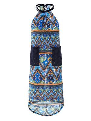 Mayan patchwork-print beach dress