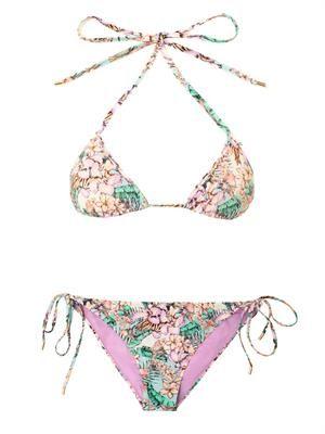 Flamingo bay-print triangle bikini