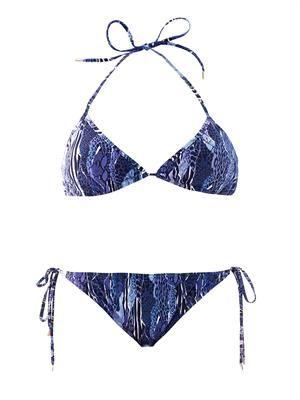 Exotic-skin camo-print bikini