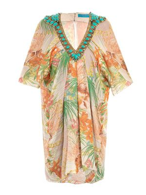 Floral mousseline beaded kaftan