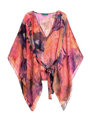 Acid flower-print kaftan
