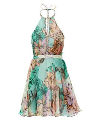 Flamingo bay print silk halter neck dress