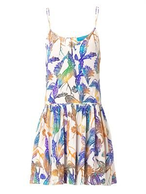 Woodcut-print silk dress