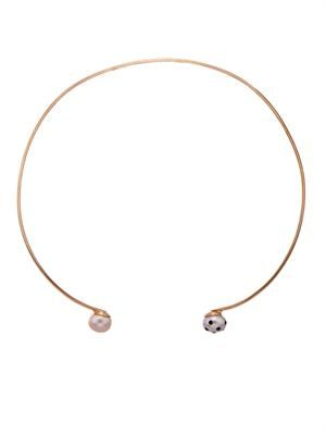 Lady Bug pink-pearl & gold-plated choker
