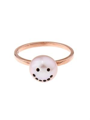 Smiley face pink-pearl & gold-plated ring