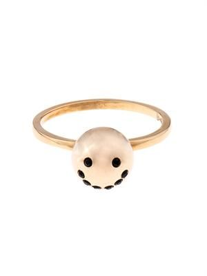 Smiley face gold-plated ring