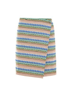 Striped jacquard wrap skirt