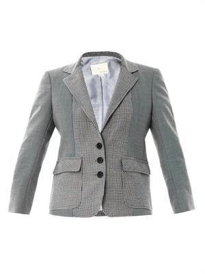 Contrast check wool blazer