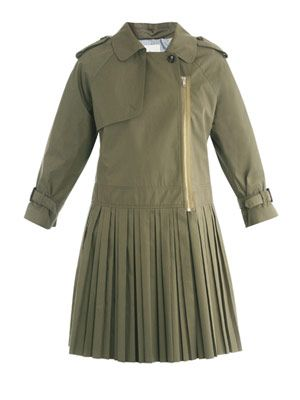 Pleated-skirt trench coat