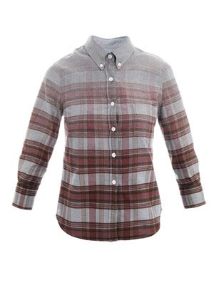 Degrade check denim shirt