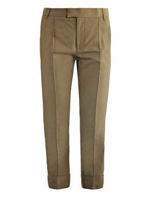 Cuffed cotton-linen trousers