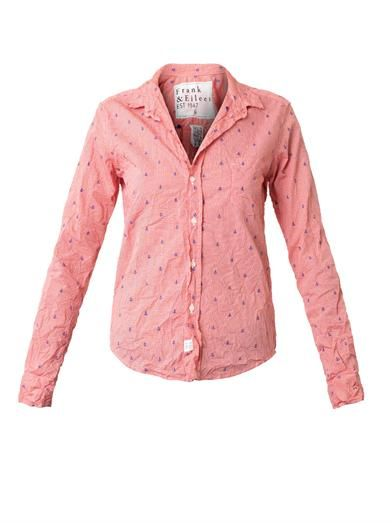 Frank & Eileen Barry anchor-embroidered checked shirt