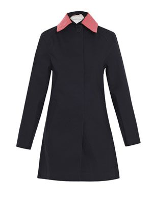 Contrast-collar trench coat
