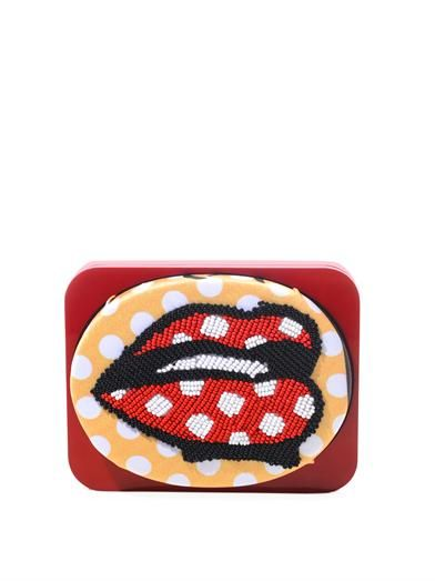 Sarah's Bag The Lips bead-embellished clutch