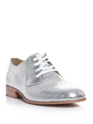 Metallic-leather lace-up shoe