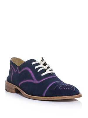 Spray-paint suede brogue shoes