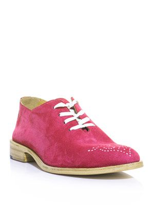 Dot suede lace-up shoe