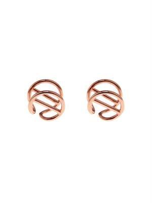 Bar-circle gold-plated earlobe cuffs