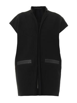 Boiled-wool sleeveless cardigan