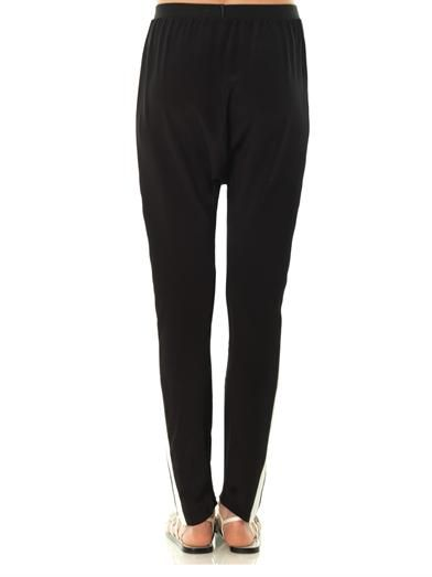Anne Vest Leather-stripe hareem trousers