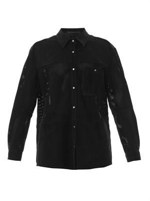 Perforated suede shirt