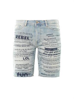 Slogan-print low-slung boyfriend shorts