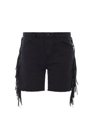 Shaman leather-fringe denim shorts