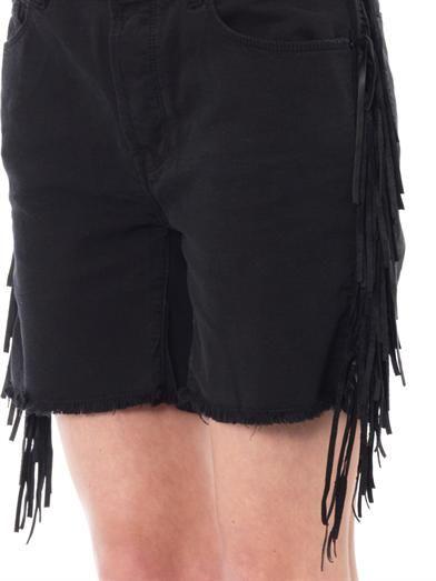 Each X Other Shaman leather-fringe denim shorts