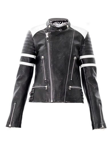 Each X Other Contrast shoulder leather biker jacket