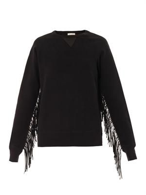 Leather-fringed cotton sweatshirt