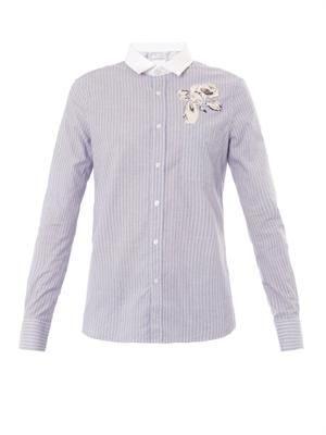 Open-back striped shirt