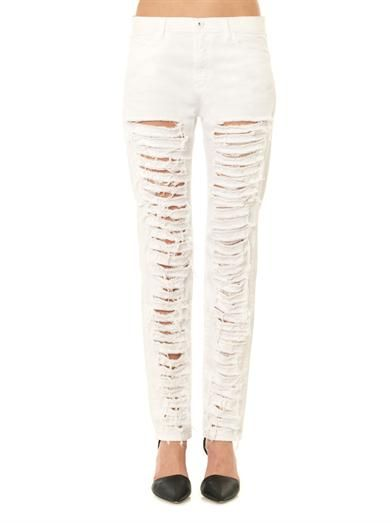 Each X Other Distressed high-rise slouchy skinny jeans
