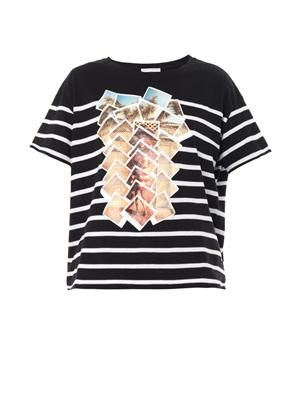 Collage-print cotton T-shirt