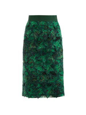 Floral jacquard embroidered skirt