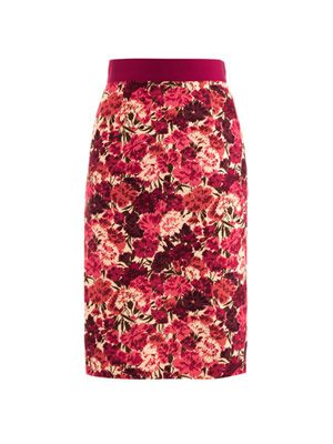 Carnation-print pencil skirt