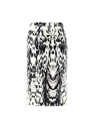 Abstract Lynx print silk skirt